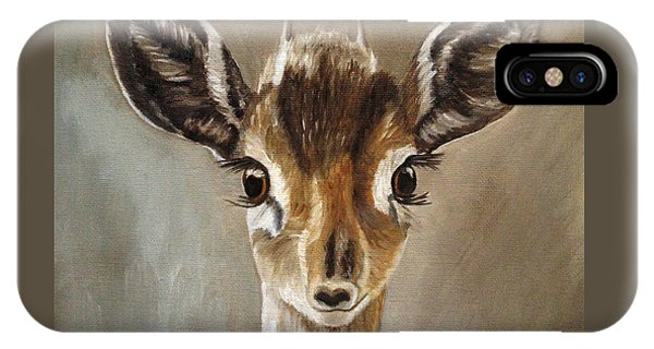 IPhone Case featuring the painting Big Eyes Dik-dik by Angeles M Pomata