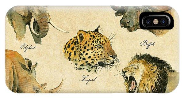 African Lion Art iPhone Case - Big Five Poster by Juan  Bosco