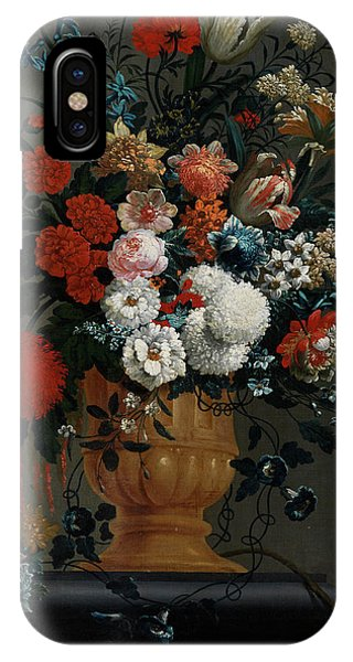 Big Flowers Still Life With Red Parrot IPhone Case