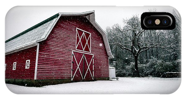Big Red Barn In Snow IPhone Case