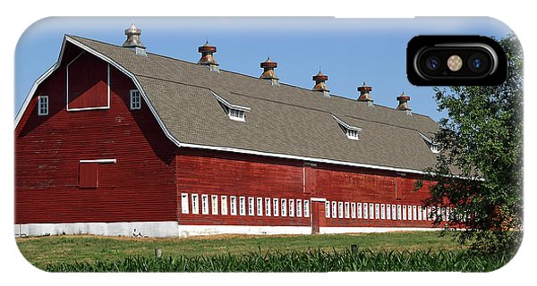 Big Red Barn In Spring IPhone Case