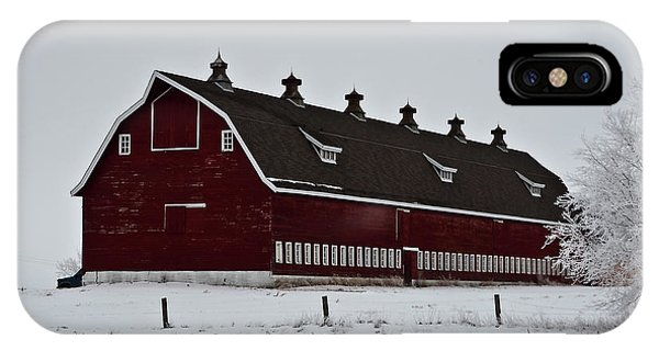 Big Red Barn In The Winter IPhone Case