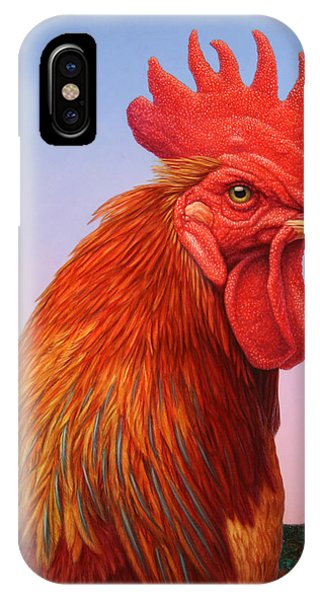 Red iPhone X Case - Big Red Rooster by James W Johnson