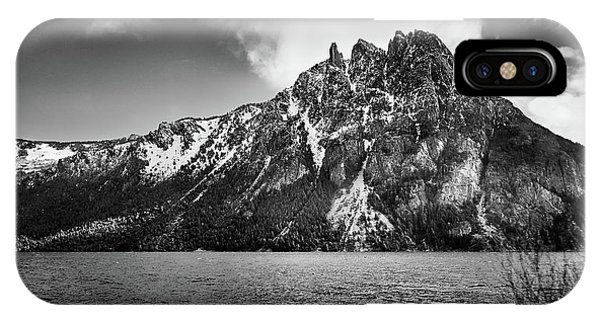 Big Snowy Mountain In Argentine Patagonia - Black And White IPhone Case