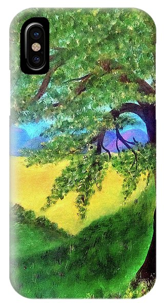 IPhone Case featuring the painting Big Tree In Meadow by Sonya Nancy Capling-Bacle