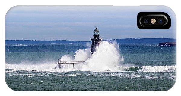 Big Wave Hits Ram Island Ledge Light IPhone Case
