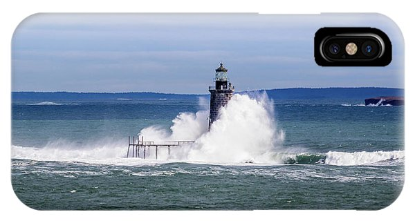 IPhone Case featuring the photograph Big Wave Hits Ram Island Ledge Light by Darryl Hendricks