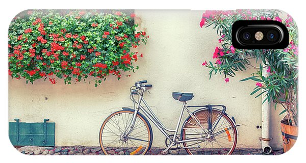 IPhone Case featuring the photograph bike in France village  by Ariadna De Raadt