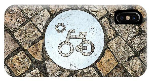 Bike Path Sign On A Cobblestone Pavement IPhone Case