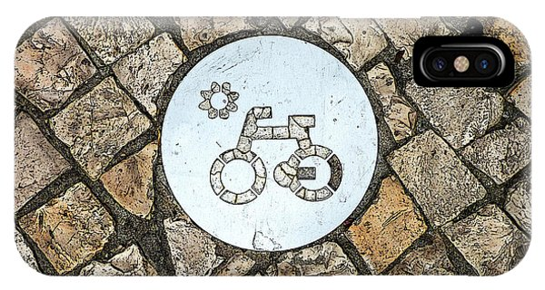 Bike Path Sign On A Cobblestone Pavement IPhone Case