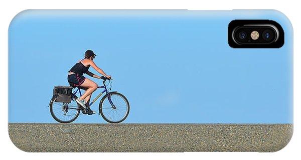 Bike Rider On Levee IPhone Case
