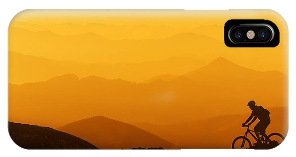 Biker Riding On Mountain Silhouettes Background IPhone Case