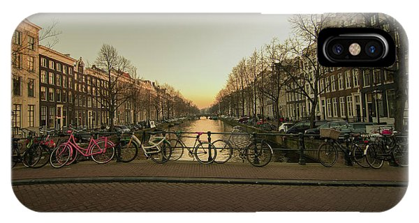 Bikes On The Canal Bridge IPhone Case