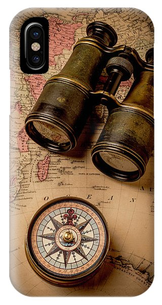 Navigation iPhone Case - Binoculars And Compass On Map by Garry Gay