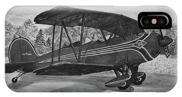 iPhone Case - Biplane In Black And White by Megan Cohen