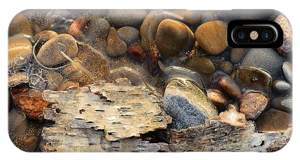 Birch Bark And Ice In The Creek Four  IPhone Case