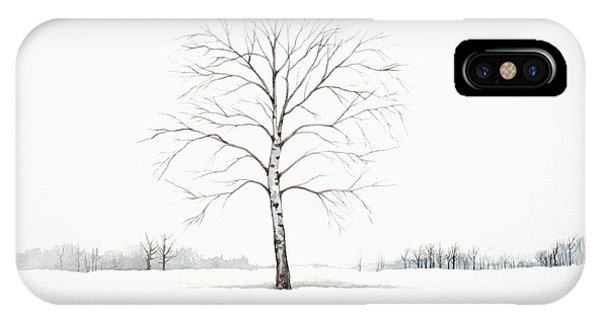 Birch Tree Upon The Winter Plain IPhone Case