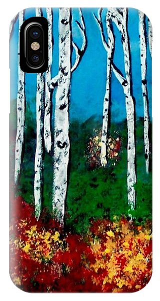 IPhone Case featuring the painting Birch Woods by Sonya Nancy Capling-Bacle