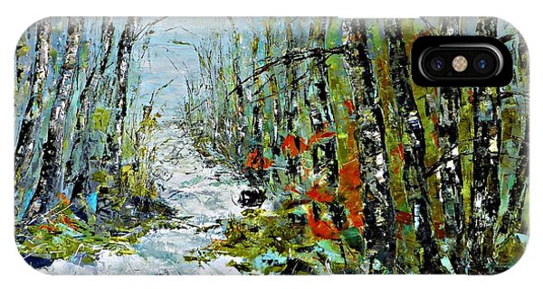 Birches Near Waterfall IPhone Case