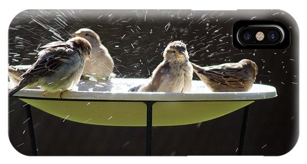 Bird Bathing Spree Phone Case by Gordon Wood