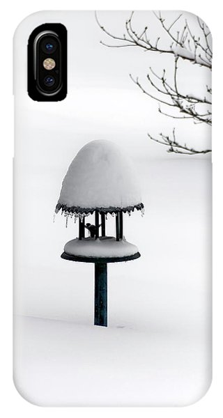 Bird Feeder In Snow IPhone Case