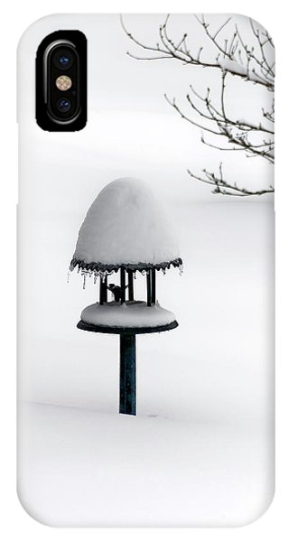 Bird Feeder In Snow IPhone Case