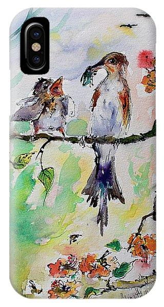 Bird Feeding Baby Watercolor IPhone Case