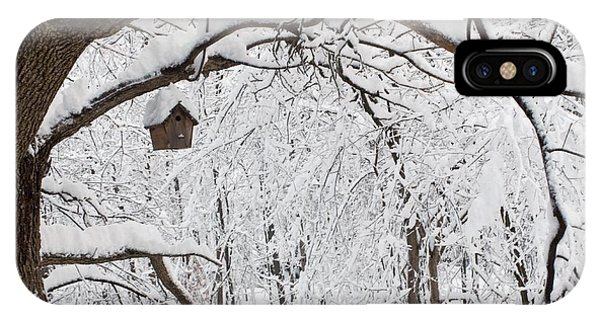 Bird House In Snow IPhone Case
