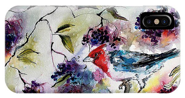 Bird In Elderberry Bush Watercolor IPhone Case