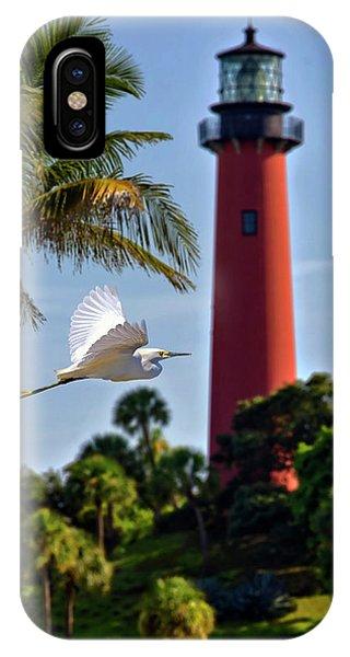 Bird In Flight Under Jupiter Lighthouse, Florida IPhone Case