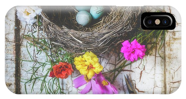IPhone Case featuring the photograph Bird Nest With Blue Bird Eggs Beauty by Anna Louise