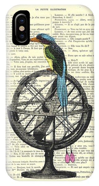 Old World iPhone Case - Colorful Bird Of Paradise Sitting On Globe by Madame Memento