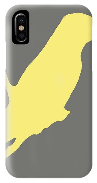 Bird Silhouette Gray Yellow IPhone Case