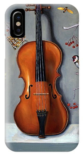 Violin iPhone X / XS Case - Bird Song by Leah Saulnier The Painting Maniac