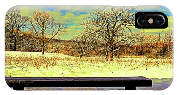 Bird Watchers Bench Winter Crabtree Nature Center Cook County Il IPhone Case