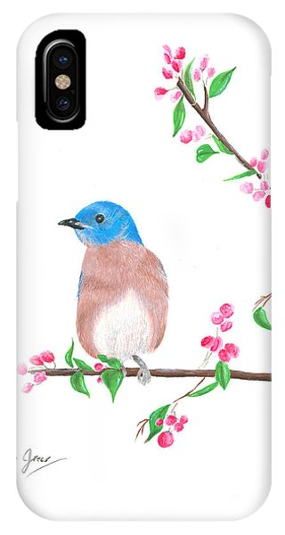 Minimal Bird And Cherry Flowers IPhone Case