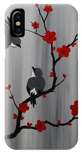 Birds And Blooms In Red IPhone Case
