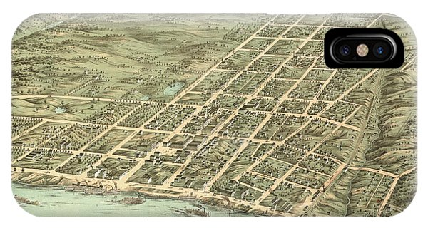Capitol iPhone Case - Bird's Eye View Of The City Of Clarksville, Montgomery County, Tennessee 1870 by Ruger