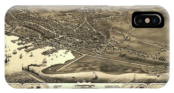 Cape Cod iPhone Case - Bird's Eye View Of The Town Of Nantucket In The State Of Massachusetts by Stoner