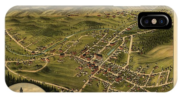 1877 iPhone Case - Bird's Eye View Of The Village Of Farmington, Stafford County, New Hampshire 1877 by Antique map