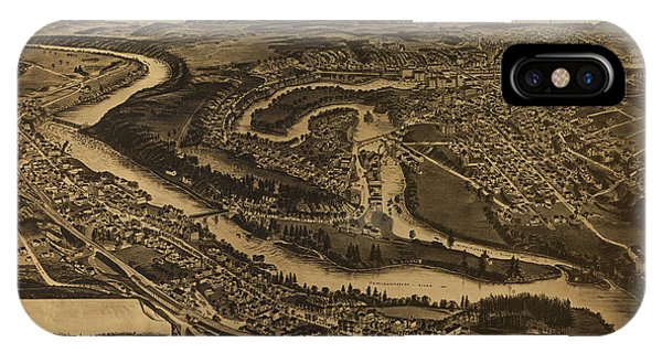 1877 iPhone Case - Bird's Eye View Of The Village Of Farmington, Stafford County, New Hampshire  by Wellge