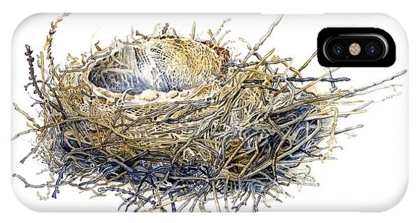 Bird's Nest Watercolor Painting IPhone Case