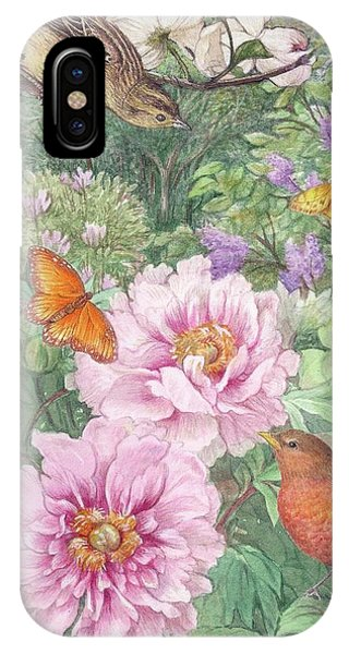 Birds Peony Garden Illustration IPhone Case