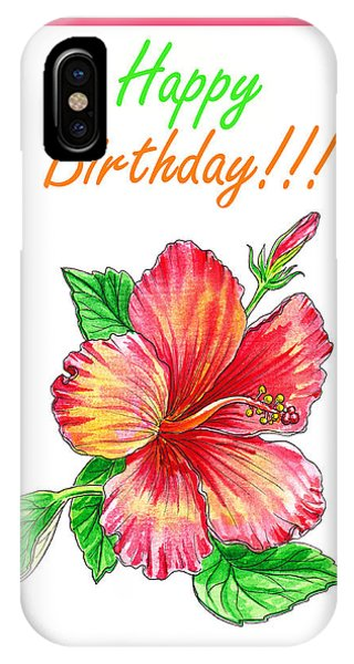 Hibiscus Flower iPhone Case - Birthday Hibiscus by Irina Sztukowski