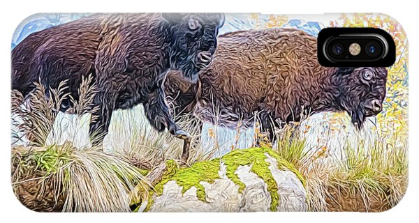 IPhone Case featuring the digital art Bison Pair by Ray Shiu