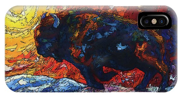 Bison Running Print Of Olena Art Wild The Storm Oil Painting With Palette Knife  IPhone Case