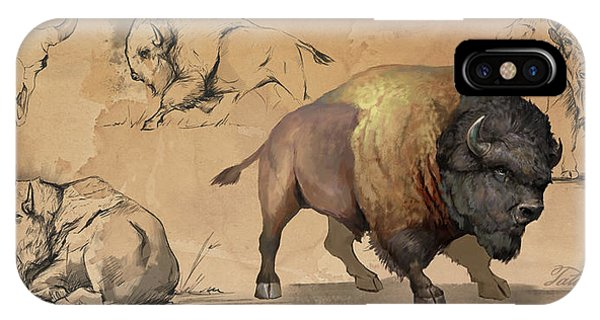 Sketch iPhone Case - Bison Study Sheet by Steve Goad