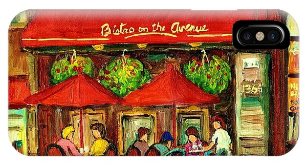 China Town iPhone Case - Bistro On Greene Avenue In Montreal by Carole Spandau