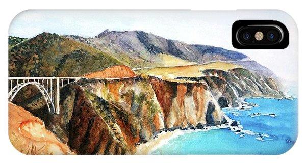 California iPhone Case - Bixby Bridge Big Sur Coast California by Carlin Blahnik CarlinArtWatercolor
