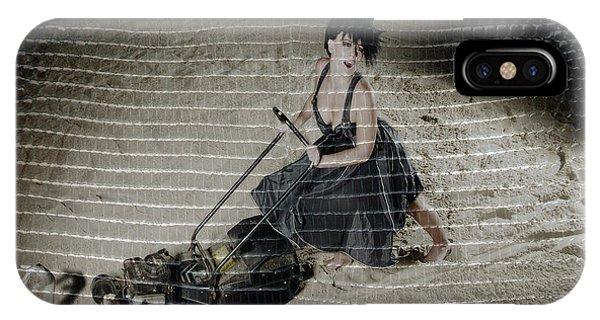 Bizarre Girl With Lawn Mower On Beach IPhone Case